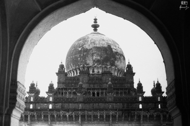 The dome of Ibrahim Rouza, Bijapur in Karnataka, India. You can read about Ibahim Rouza here: https://amritpanigrahy.com/2017/06/28/dome-diaries-part-iii-two-and-a-half-tombs-and-other-things/
